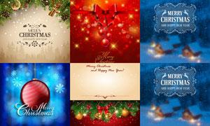 蝴蝶结与挂球等圣诞节主题矢量素材