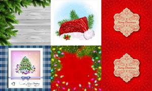彩灯与圣诞帽等圣诞节主题矢量素材