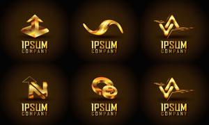 金色尊贵奢华标志创意设计矢量图V3
