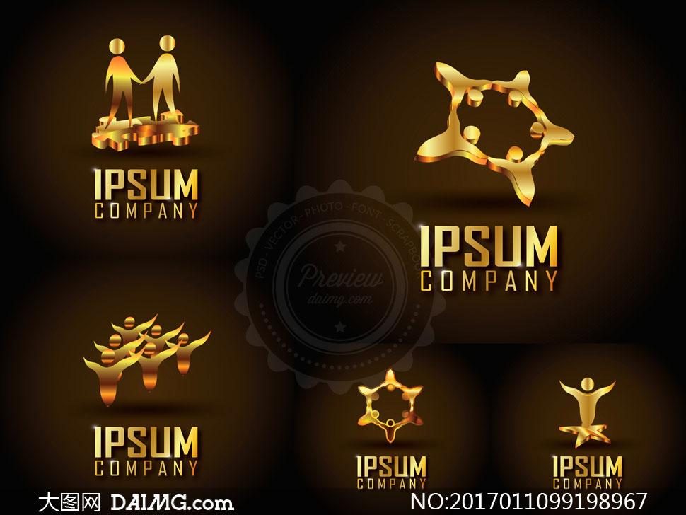 金色尊贵奢华标志创意设计矢量图V5