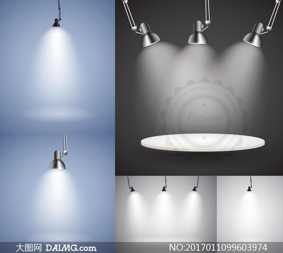 射灯与吊灯等聚光灯主题矢量素材V2