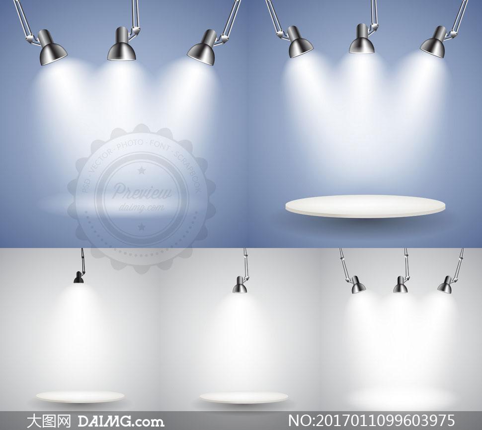 射灯与吊灯等聚光灯主题矢量素材V3