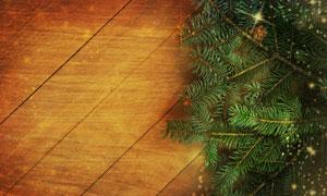 木板与星光装饰的树枝摄影高清图片