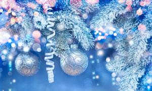 梦幻光斑与银色圣诞球摄影高清图片
