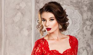 红色蕾丝长裙浓妆美女摄影高清图片