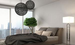 创意吊灯与绿色盆栽等摄影高清图片