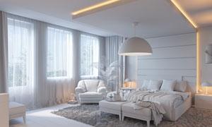 卧室家具摆放布局渲染效果高清图片