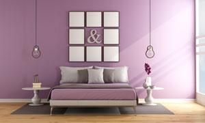 床具与墙上的装饰画等摄影高清图片