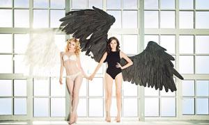 手拉手的天使美女人物创意高清图片