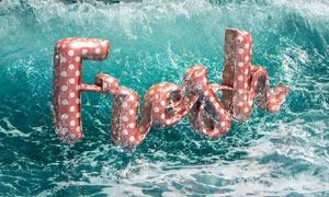 水中漂浮的3D立体字PS教程素材