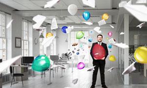 商务与飞舞的气球创意摄影高清图片