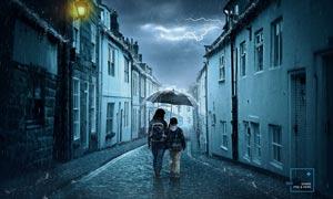 冷色主题风格的雨天场景PS教程素材