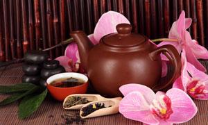 茶叶鲜花与紫砂壶茶具摄影高清图片