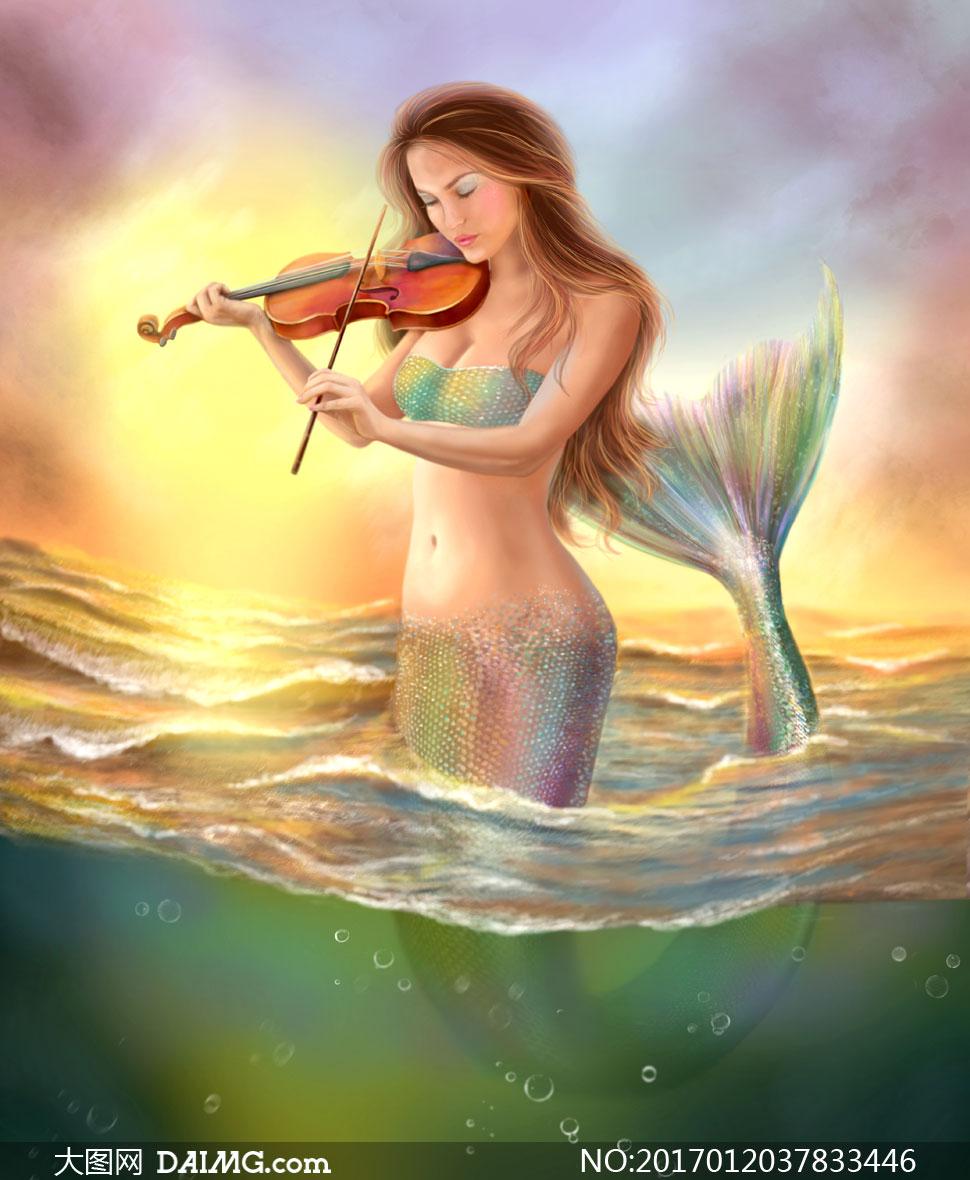 水中拉小提琴的美人鱼创意高清图片图片
