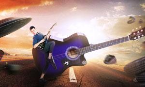 动感的吉他电商海报设计PS教程素材