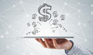 平板电脑上的手绘美元符号高清图片