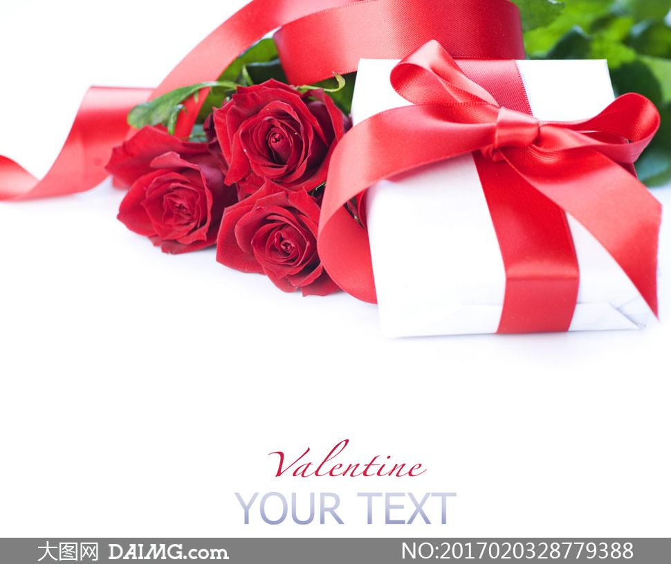 摄影近景特写微距情人节节日红色玫瑰花红玫瑰花束丝带礼物盒礼盒白色