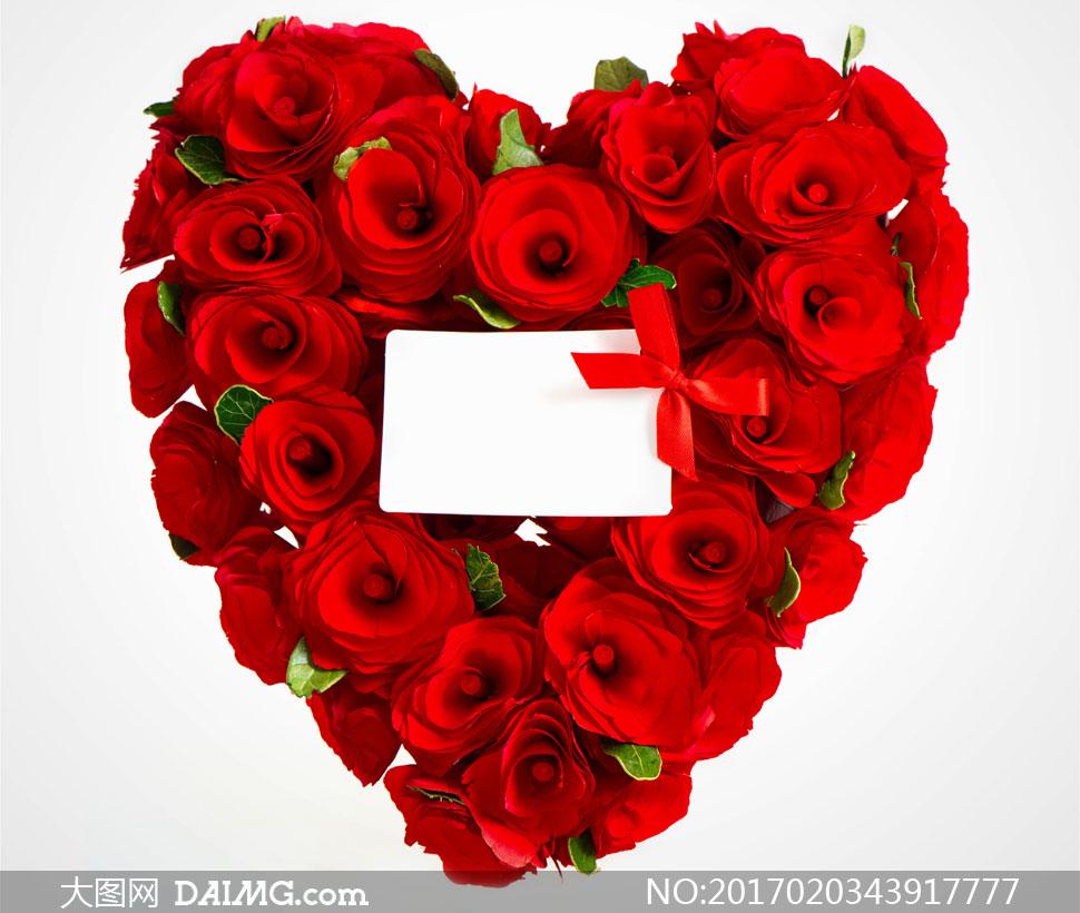 蝴蝶结与红色玫瑰花束摄影高清图片
