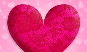 刺绣花朵装饰心形图案主题高清图片