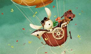 乘坐着热气球的小动物插画高清图片