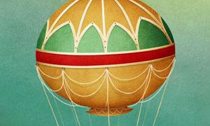 可载人热气球插画创意设计高清图片