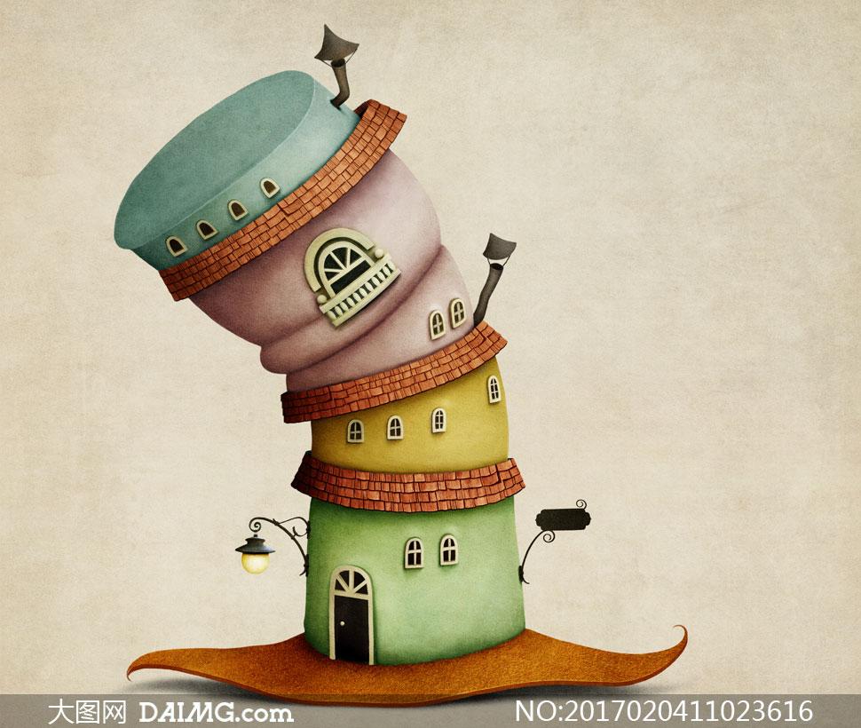 高清大图图片素材美术绘画插画创意设计城堡房子房屋门窗窗户树木小树