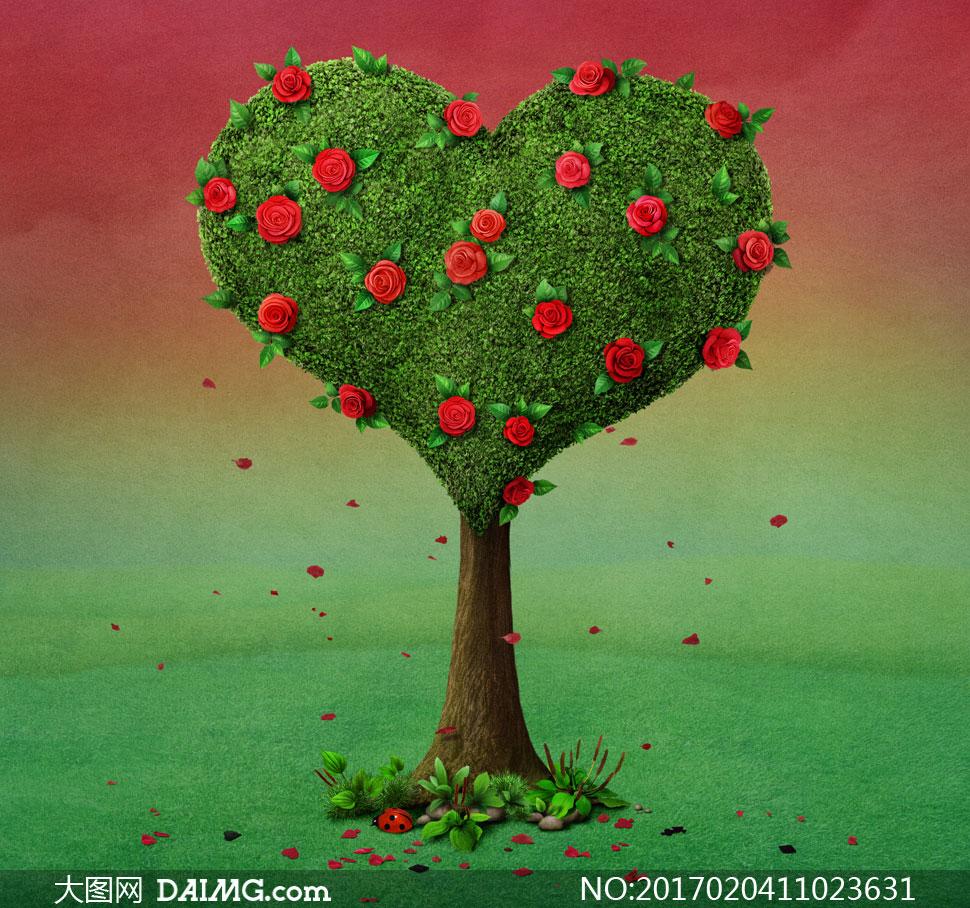 小橋房子與連綿的山丘插畫創意圖片         紅色玫瑰花點綴