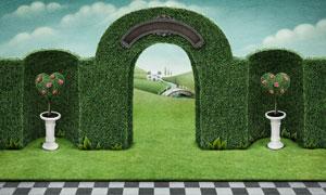 黑白格子与景观拱形门创意高清图片