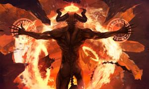 在展现强大功力的恶魔创意高清图片