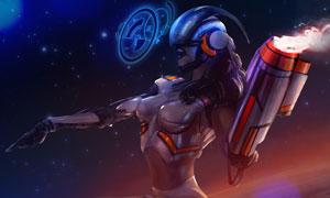 脚踏推进器的游戏角色人物创意图片