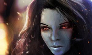 红色双眼冷面游戏女性角色高清图片