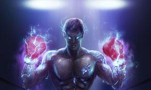 尽显肌肉的拳击手人物绘画高清图片