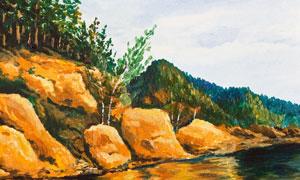 在河边的岩石树木风光油画高清图片