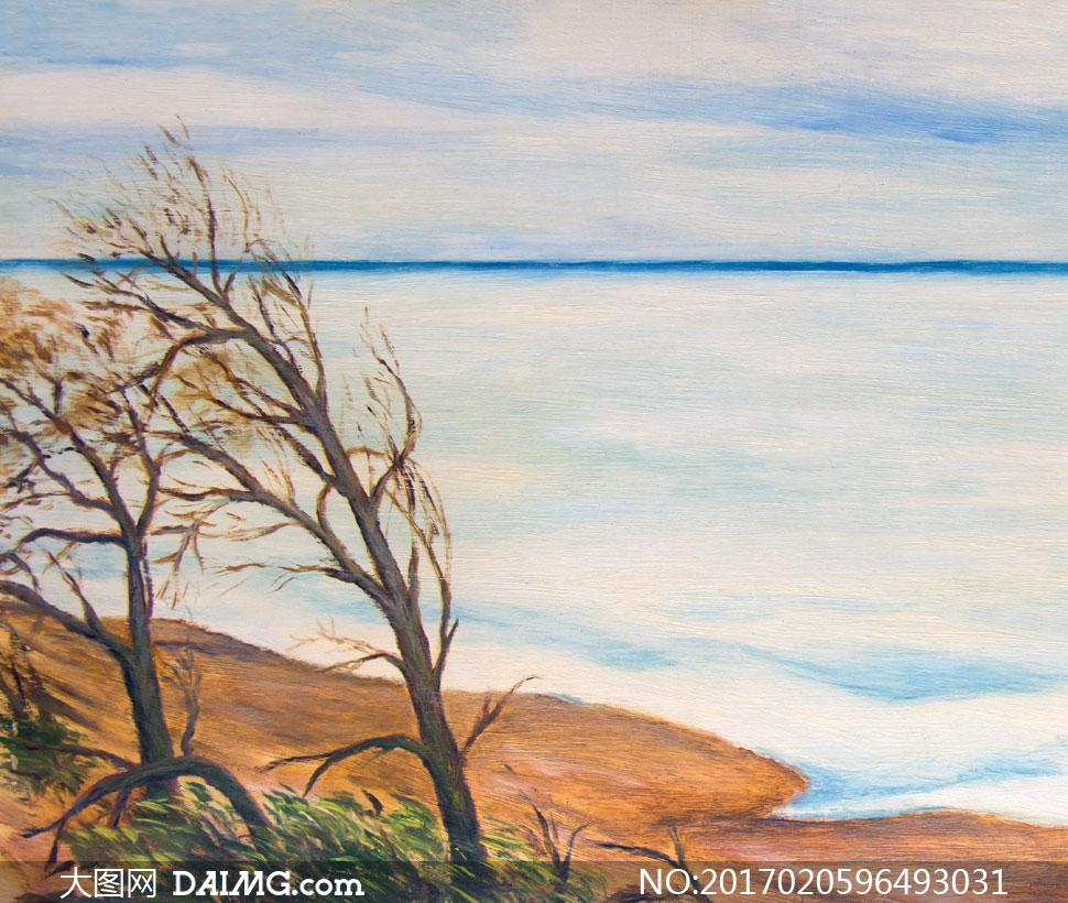 海边的树木植物风景画创意高清图片