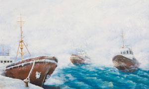 在波涛汹涌的海上船只油画高清图片