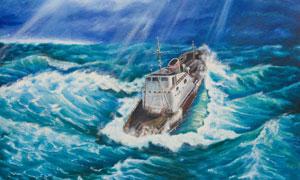 海上暴风骤雨中的船只油画高清图片