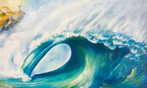海面上卷起的大浪油画创意高清图片