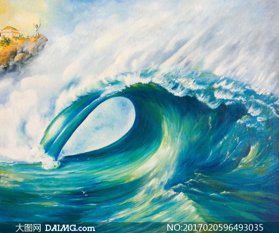 海面上卷起的大浪油画创意高清图片图片