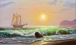 阳光云彩与海上的帆船绘画高清图片
