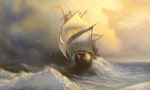 海面上乘风破浪的帆船绘画高清图片