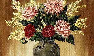 花瓶中的三种颜色花朵绘画高清图片