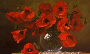 花瓶里的红色鲜花绘画创意高清图片