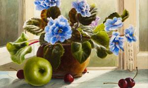 苹果樱桃与花瓶插花等绘画高清图片