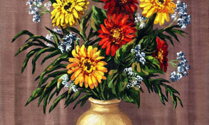 花瓶里的菊花静物绘画创意高清图片