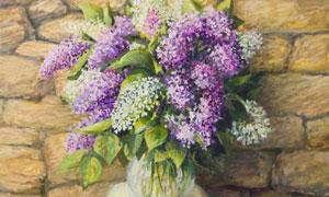 在玻璃瓶里的鲜花静物绘画高清图片