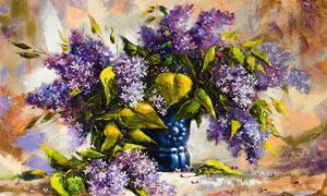瓶子里的带着绿叶的紫色花绘画图片
