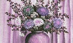 在布帘前的插花静物绘画高清图片
