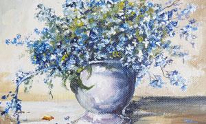 花瓶蓝色小花静物主题油画高清图片