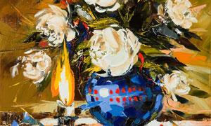 花瓶插花与燃烧的蜡烛绘画高清图片