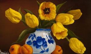 在花瓶里的郁金香油画创意高清图片